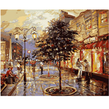 WEEN Sunset Street Passerby-DIY Oil Painting Drawing with Brushes Paint, Paint by Number Kit for Adults,