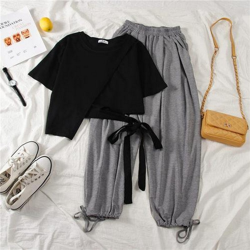 Korean Tshirt And High-waist Exposed Navel Wide-leg Pants 2 Piece Set Women Outfits Tiktok Clothes 2020 Loose Matching Sets