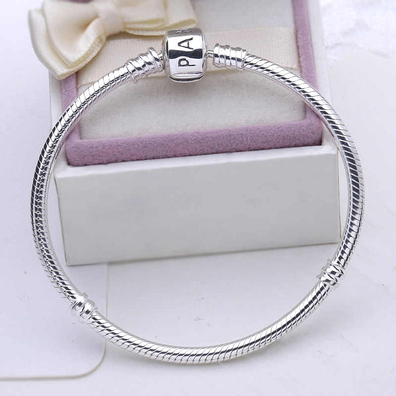 100% 925 Silver bracelet Sterling Popular Snake Chain Basic Bracelet with Logo Charms Beads DIY Jewelry for Women Gift