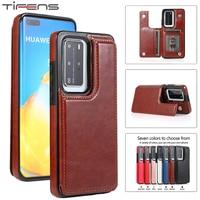 Luxe Lederen Card Slot Case Voor Huawei P40 P30 Mate 40 30 20 Pro Lite Plus P40lite Zachte Siliconen Stand houder Phone Bag Cover