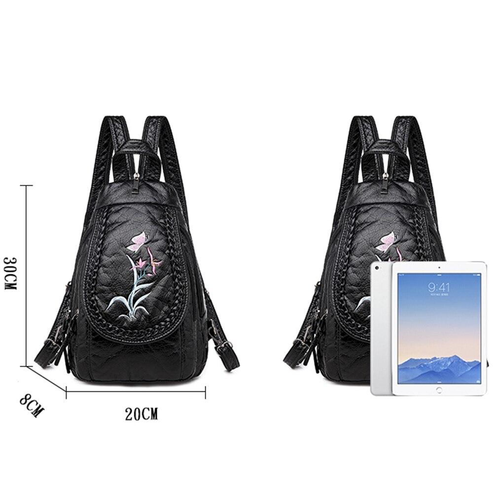 Image 4 - Estilo de inverno 3 em 1 mochila feminina moda bordado macio lavado couro sacos ombro para mulher mochila saco peito bagpackMochilas   -