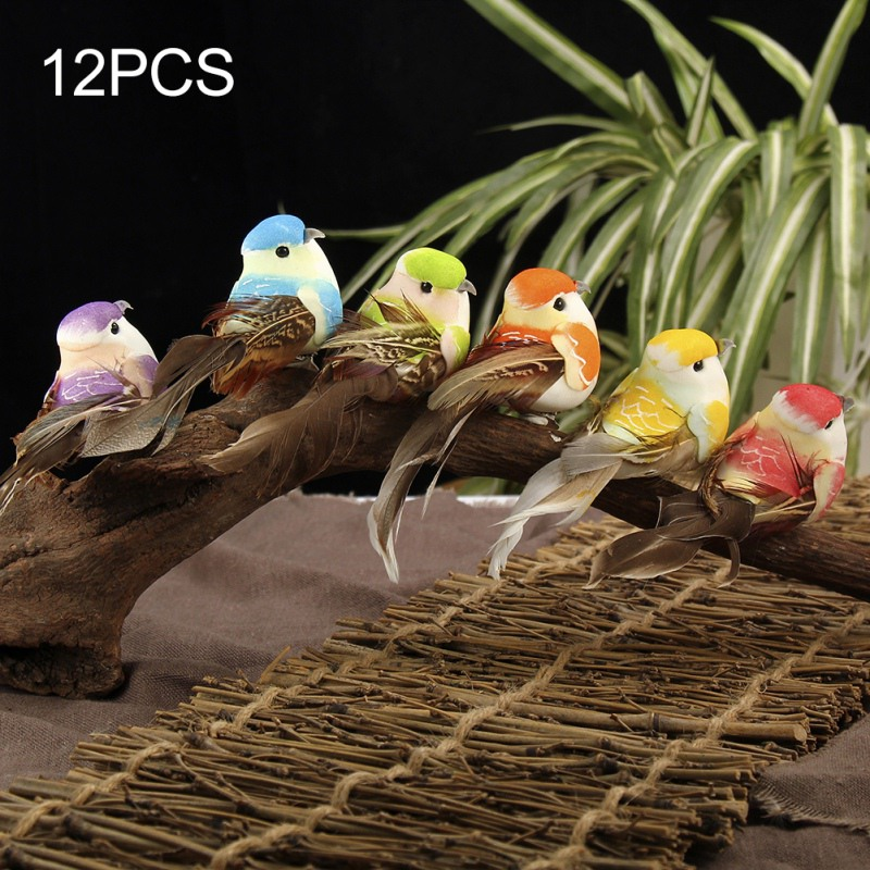 12PCS Artificial Foam Feather Simulation Bird DIY Party Crafts Ornament Props Home Garden Christmas Tree Robin On Clip Decor