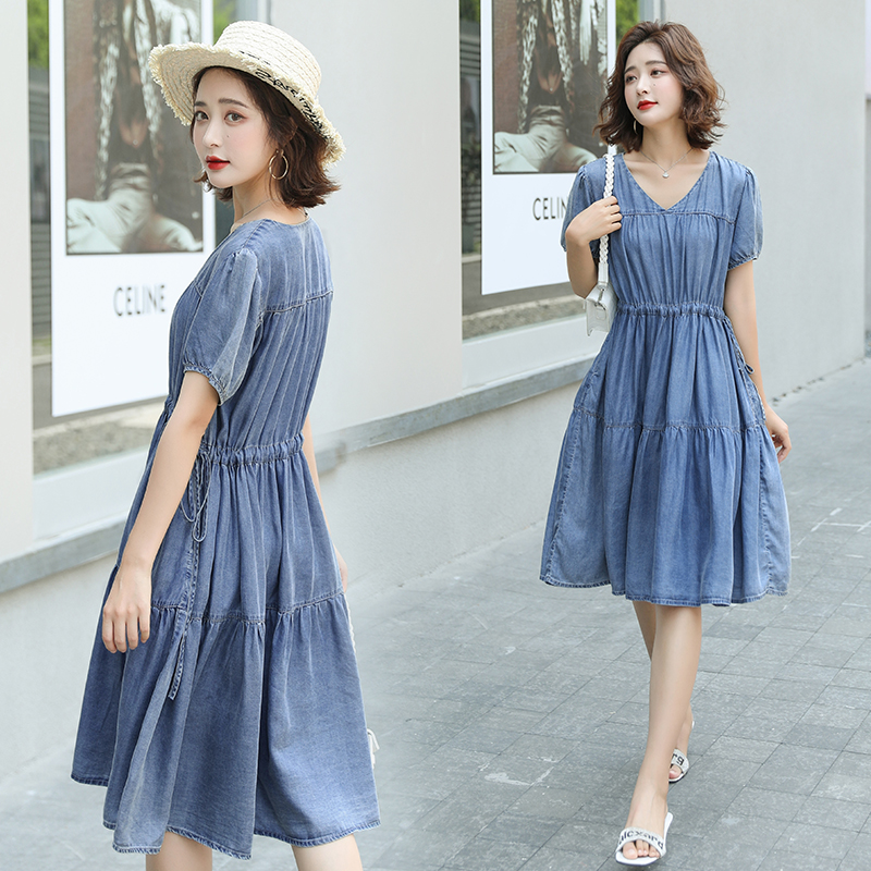 HAYBLST Brand Denim Dress Womens 2020 New Summer Short Sleeves Plus Size Clothes High Quality Kawaii Korean Style Solid Clothing(China)