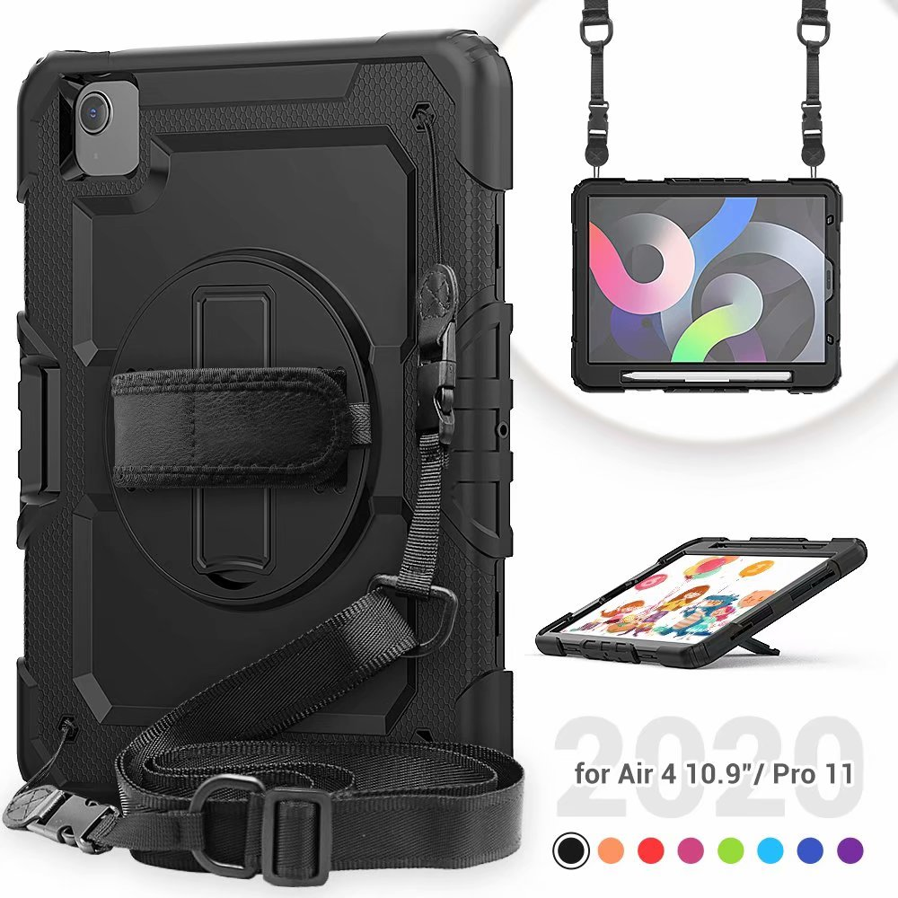 Duty Air with Kickstand Film Heavy For Screen 4th Silicone Generation Case iPad Protective