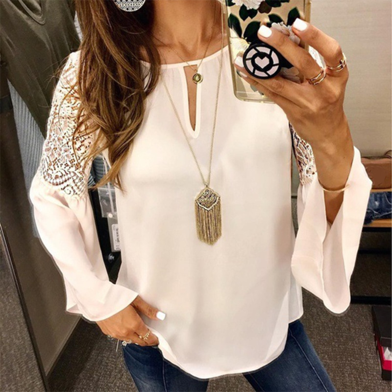 Office Lady Lace Chiffon Blouse Women Plus Size 5XL Flare Long Sleeve O-Neck White Feminine Blouses 2020 Spring Ladies Tops
