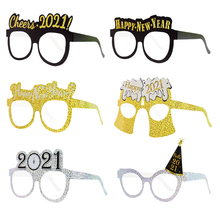 Paper-Glasses Photobooth-Props Party-Decoration Happy 6pcs Glitter Cheers New-Year