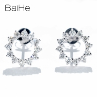 BAIHE Solid 14K White Gold 0.46ct H/SI Round Natural Diamonds Wedding Trendy Fine Jewelry Gift beautiful Diamond Stud Earrings