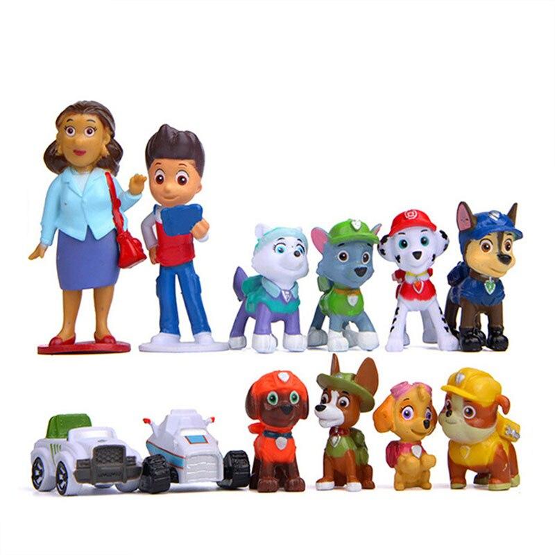 12 шт., Щенячий патруль, Patrulla Canina, ПВХ, фигурка, аниме, Щенячий патруль, игрушка, Щенячий патруль, собачий патруль, детские игрушки для детей 2D08 - Цвет: B12Pcs