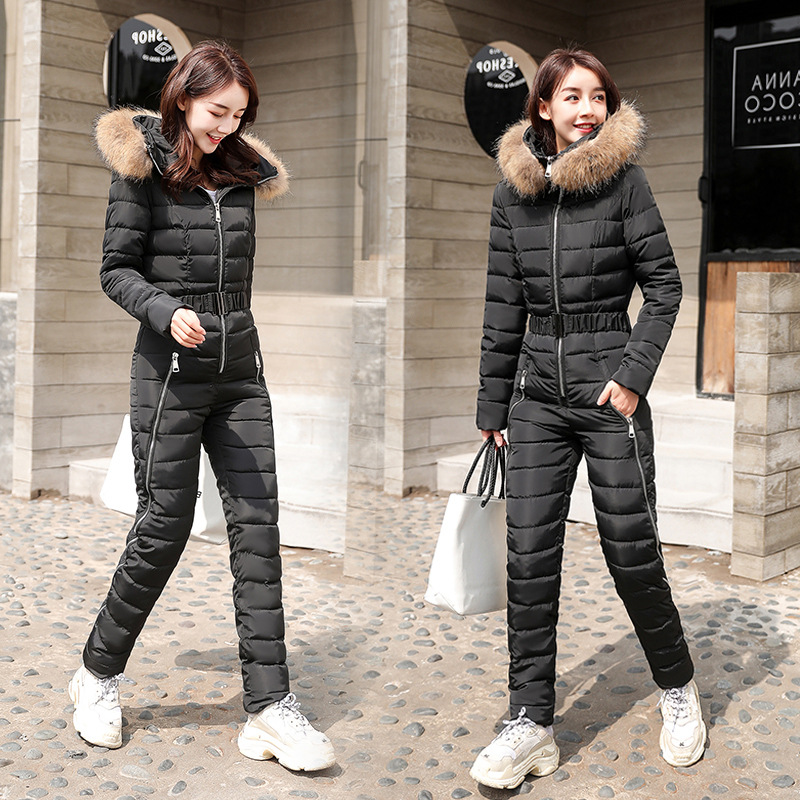 Cotton-padded Jumpsuits Women's 2019 Winter New Style Slim Fit Skiing Cotton-padded Jacket Set Thick Down Jacket Cotton-padded C