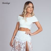 Off Shoulder Bandage Crop Top Women Bodycon Sexy Sleeveless Elastic Knitted Short Top Ladies Nightclub Party Wear Verano White