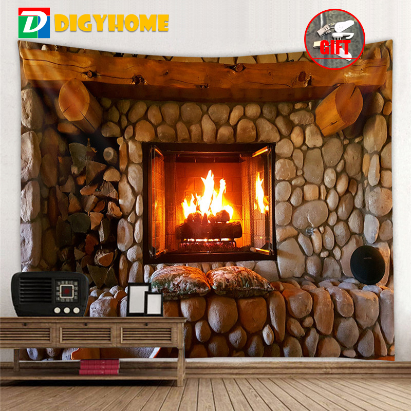 Tapestry Fireplace And Bookshelf Style Warm Feeling Beautiful Home Decoration Cool Polyester Thin Wall Hanging Cloth