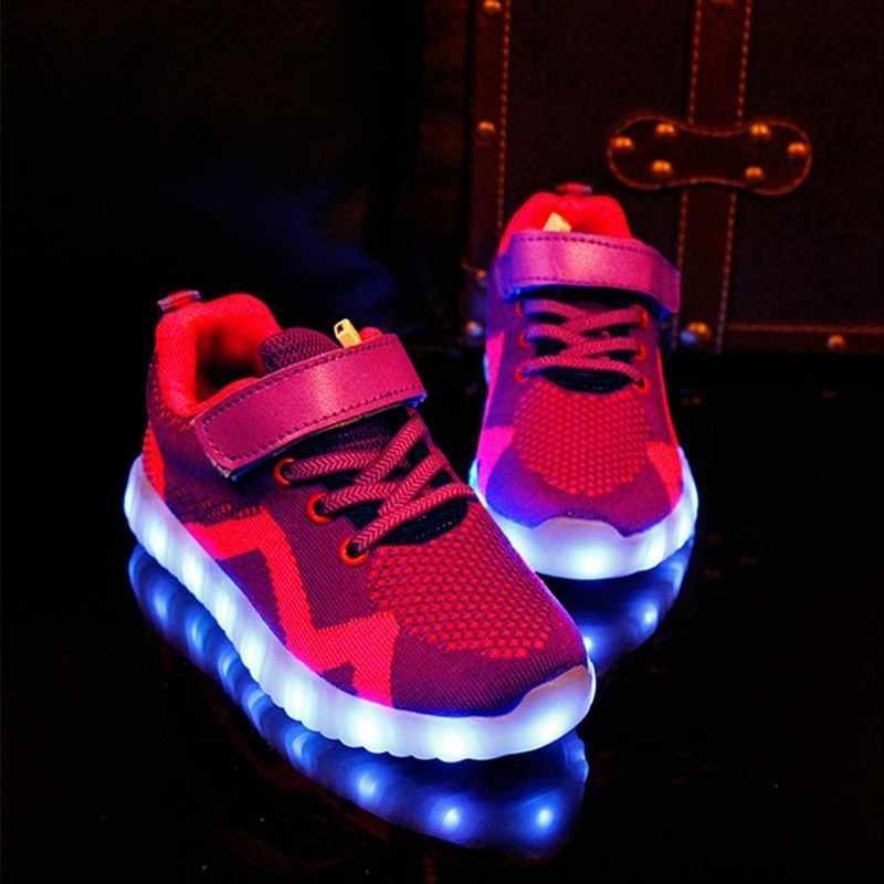 2019 ใหม่ LED รองเท้าสำหรับ Boy & Girl เรืองแสงรองเท้าผ้าใบ USB ชาร์จ illuminated krasovki รองเท้าผ้าใบส่องสว่างเด็ก Light Up รองเท้าเด็ก