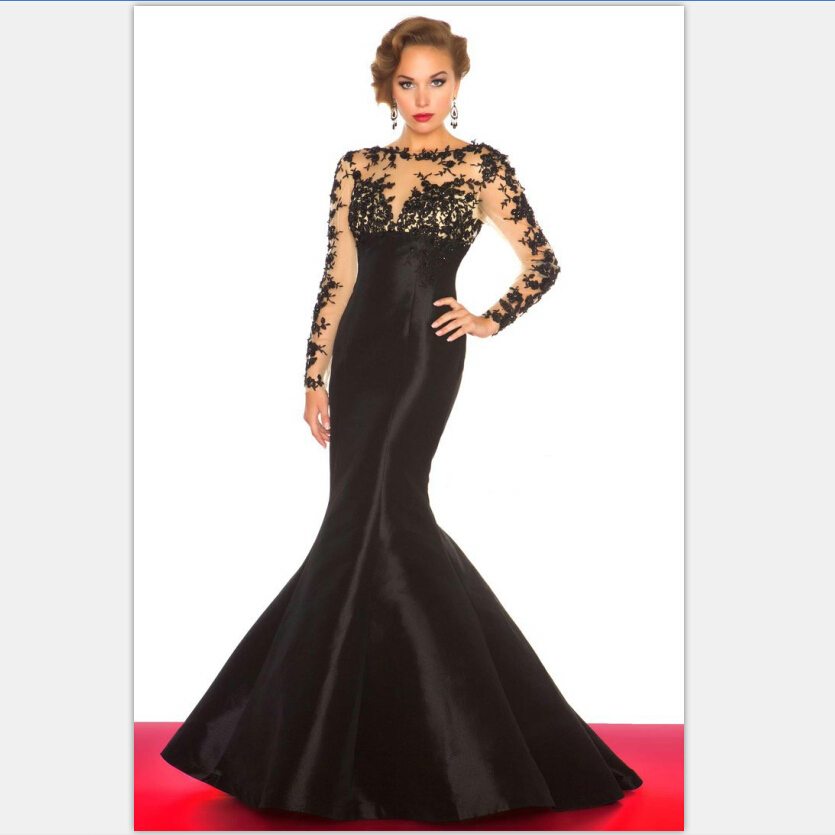 Designer Scoop Neck Black Lace Appliques Sheer Long Sleeves Mermaid Evening Formal Prom Gown 2018 Mother Of The Bride Dresses