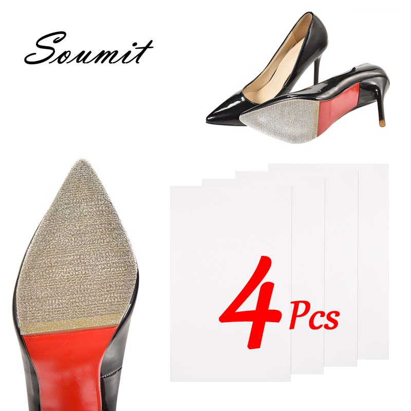 Soumit 4Pcs High Heel Sole Stickers Anti-Slip Outsoles Protector For Shoes Transparent Self Adhesive Sole Tape Large Size