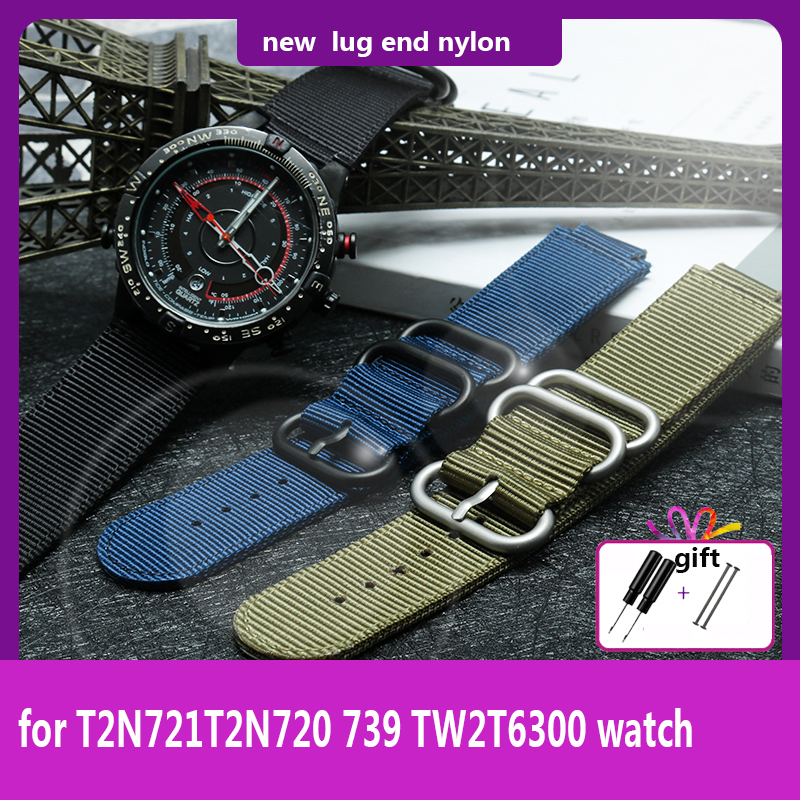 Fit Timex Watch T2N721T2N720 739 TW2T3600 Wristband Lug End Nylon Strap 24*16mm Watchband Stainless Steel Ring Black Blue Green