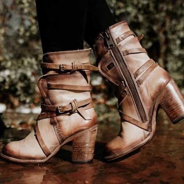 Vertvie yarım çizmeler Kadın PU deri ayakkabı Kadın Gotik Punk Combot Patik Platformu Yüksek Topuklu Bunkle Kayışı Çizmeler Kadınlar Için