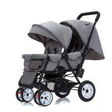 Twin Baby Stroller Can Sit and Lie Baby Carriage Four Wheel Highland Scape Lightweight Double Seat Carts 0-4 Years Old