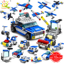 305pcs 16in1 Police truck Car Building Blocks compatible legoing City Helicopter Speeding Construction Bricks Toys For children(China)