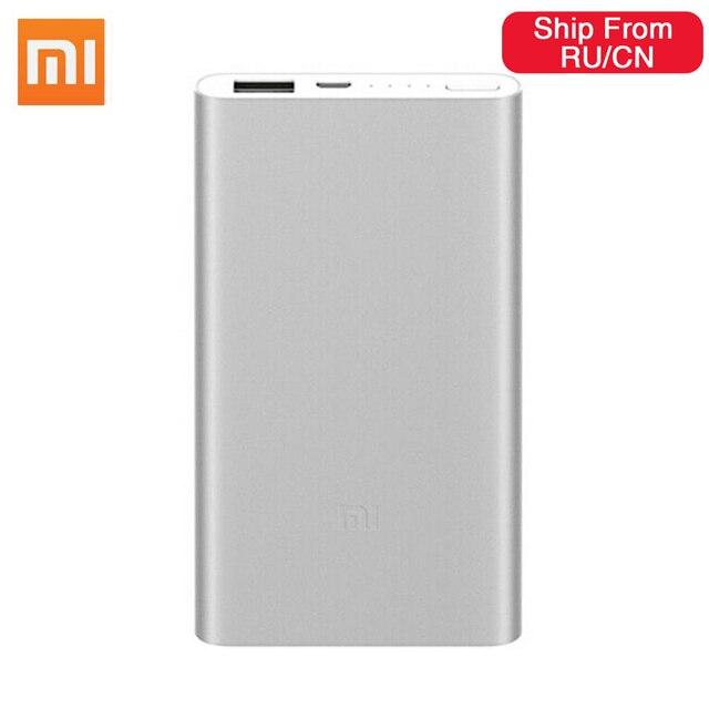 Original Xiaomi Power Bank 5000mAh 2 USB Portable Charger Slim Xiaomi Powerbank 5000 Li polymer External Battery for iPhone XS