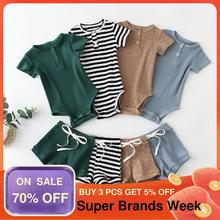 Newborn Clothing Outfits Pant Short-Sleeve Baby Bodysuit Knit Infant Toddler Boy Cotton