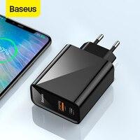 Baseus duplo usb carregador rápido 30 w suporte carga rápida 4.0 3.0 carregador de telefone portátil usb c pd carregador qc 4.0 3.0 forxiaomi|Carregadores de celular|Telefonia e Comunicação -