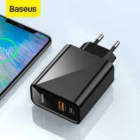 Cargador rápido USB Baseus Dual 30W compatible con carga rápida 4,0 3,0 cargador de teléfono USB C PD carga rápida QC 4,0 3,0 cargador portátil