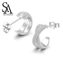 SA SILVERAGE 2019 Zircon X Series S925 Sterling Silver Earrings Korea Simple Ins Tremella Button Female Earings Fashion Jewelry