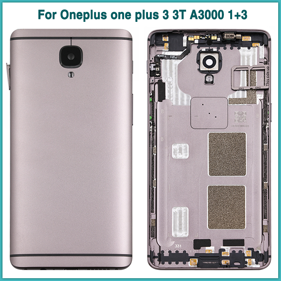 New <font><b>one</b></font> <font><b>plus</b></font> 3 Rear Housing Case For Oneplus 3 <font><b>3T</b></font> A3000 1+3 <font><b>Battery</b></font> Back Cover Door Rear Cover With Camera Glass Lens image