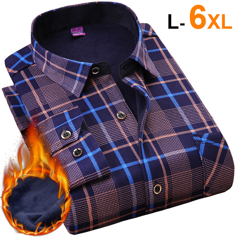 NIGRITY 2019 Winter Mens Fashion  Warm Long Sleeve Plaid Shirt Thick Fleece Lined Soft Casual Flannel Shirt Plus Big Size L-6XL