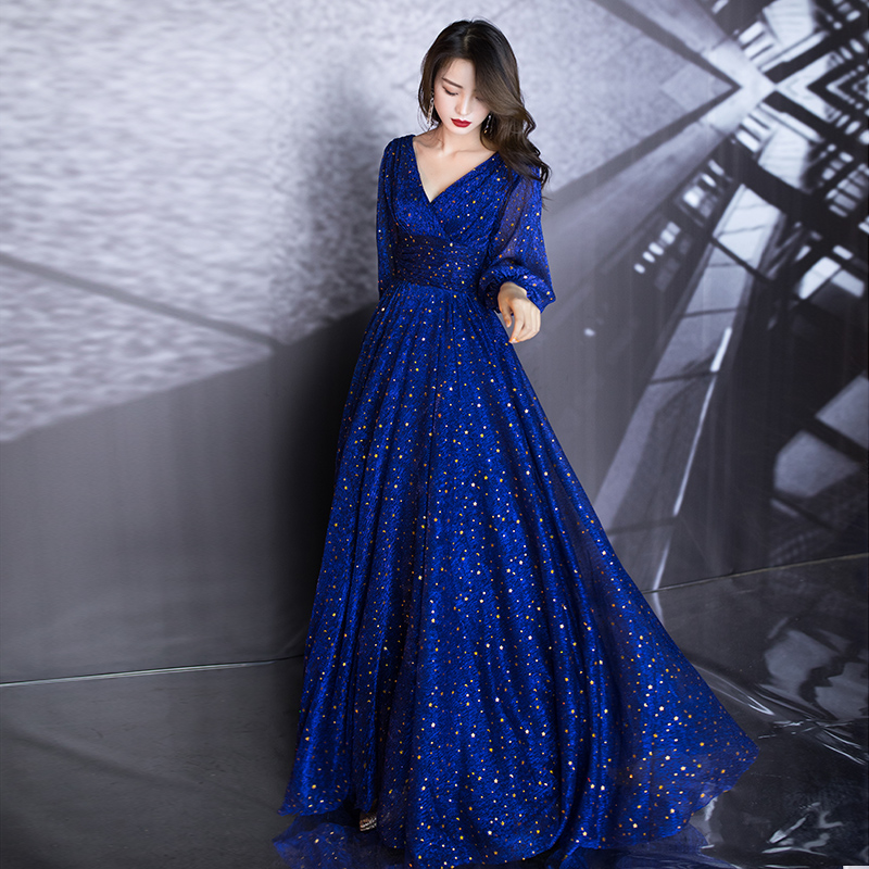 AE665 Blue A-Line Long Evening Dresses Deep V-Neck Long Sleeve Elegant Formal Dresses Robe Soirée