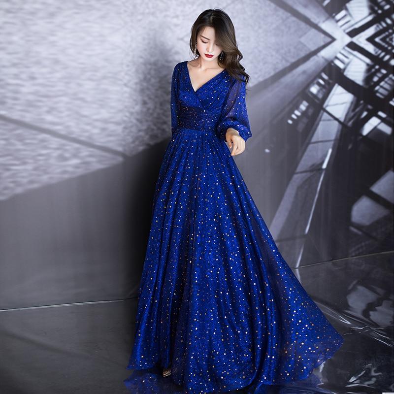 AE665 Blue A-Line Long Evening Dresses Deep V-Neck Long Sleeve Elegant Formal Dresses Robe Soirée