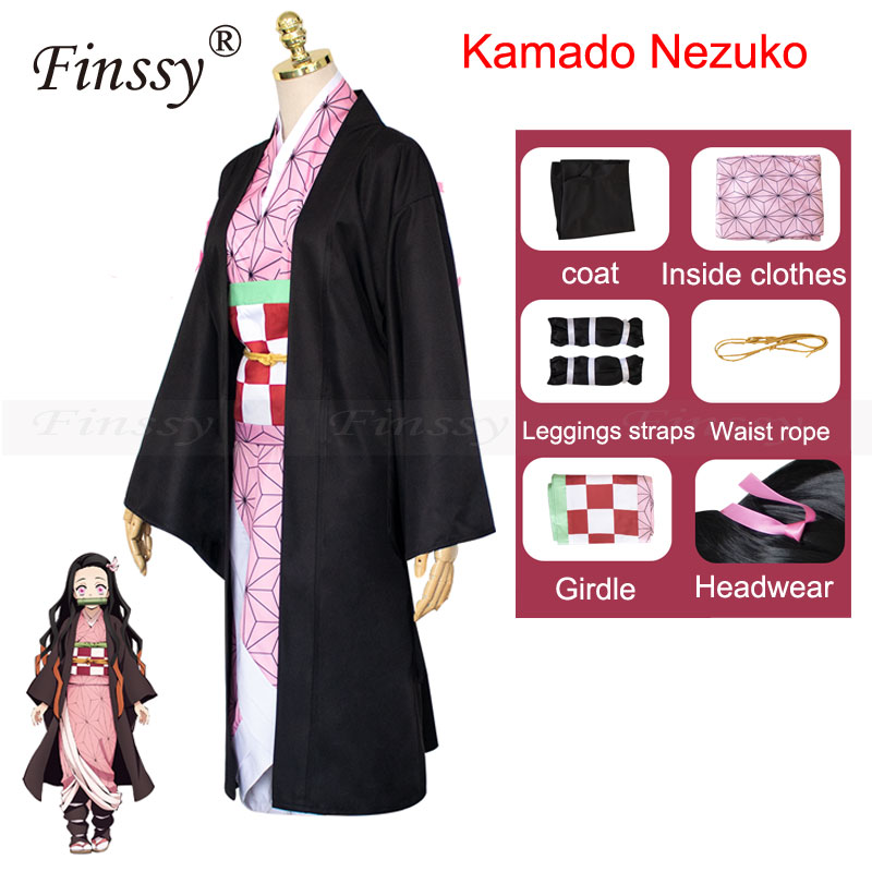 Anime Exhibition Cartoon Character Cosplay Costume Demon Slayer Kimetsu No Yaiba Tanjirou Nezuko Cosplay Kimono Wig