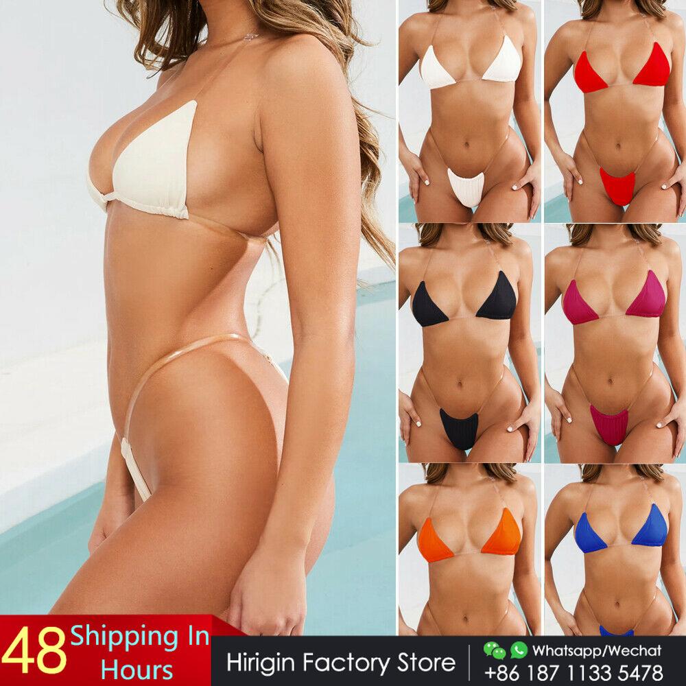 8 farben Micro Bikini Frauen Bademode 2019 Neue Sexy Tanga Bikini Transparent Strapes Frauen Bademode Badeanzug Heißer Schwimmen Biquini