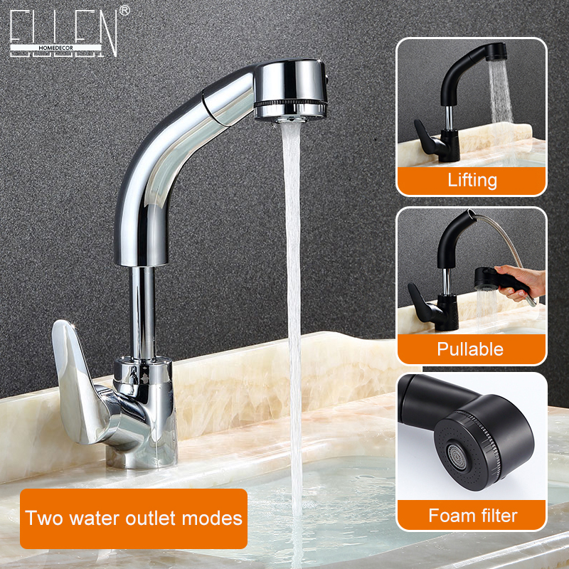 Pull Out Bathroom Sink Faucet Hot and Cold Water Mixer Crane Lift Up and down Chrome Finished 360 Degree Water Mixer Tap ELF106