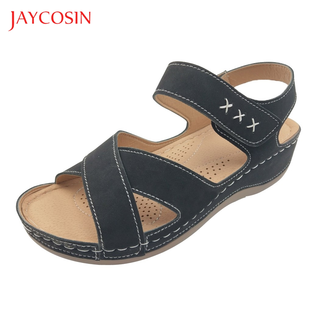 Jaycosin Summer Shoes Woman sandals female Soft Platform Summer Buckle Strap Sandals Casual Beach Wedge Shoes plus size 36-43 1