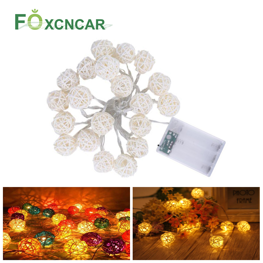 2.5M/5M LED Rattan Garland Ball Light String Outdoor Holiday Wedding Christmas New Year Party Baby Bed Fairy Lights Decoration