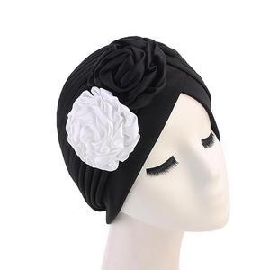 Image 5 - 女性ダブル花ターバン帽子イスラム教徒ビーニーボンネット化学がんキャッププリーツヘッドスカーフカバーイスラムファッションヘッドラップストレッチ