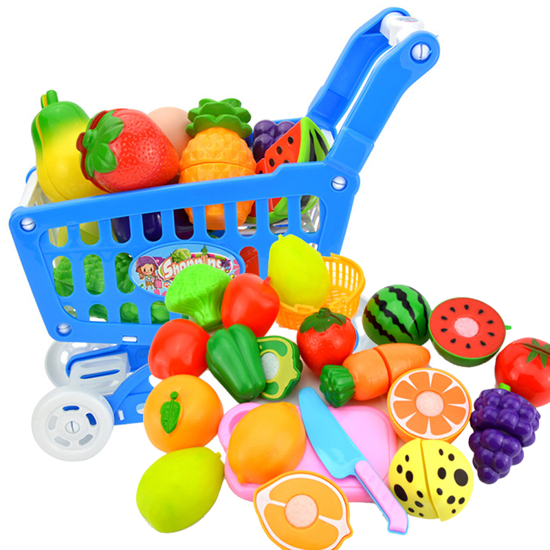 DIY Mini Shopping Trolley Children Pretend Play Supermarket Toy Fruits Vegetables Toys For Children