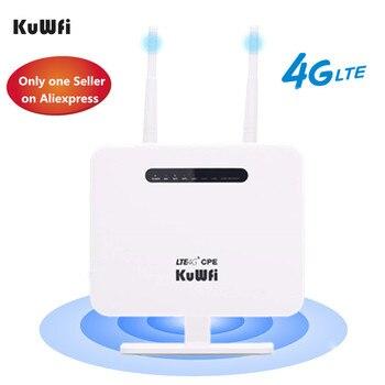 KuWFi 4G Routeur Sim Card 300mbps déverrouillé 4G CPE sans fil Routeur 150mbps CAT4 Mobile Wifi Hotspot Avec Port de Carte Sim 4 Ports LAN