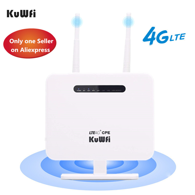 KuWFi 4G Router Sim Card 300mbps Unlocked 4G CPE Wireless Router 150mbps CAT4 Mobile Wifi Hotspot With Sim Card Slot 4 LAN Ports