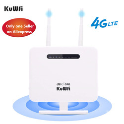 KuWFi 4G Router Sim Karte 300mbps Entsperrt 4G CPE Wireless Router 150mbps CAT4 Mobile Wifi Hotspot mit Sim Karte Slot 4 LAN Ports