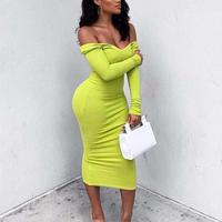 2019 Spring Autumn Women Long Sleeve Deep V Neck Solid Long Dress Casual Slim High Stretchy Bodycon Package Hip Maxi Dresses