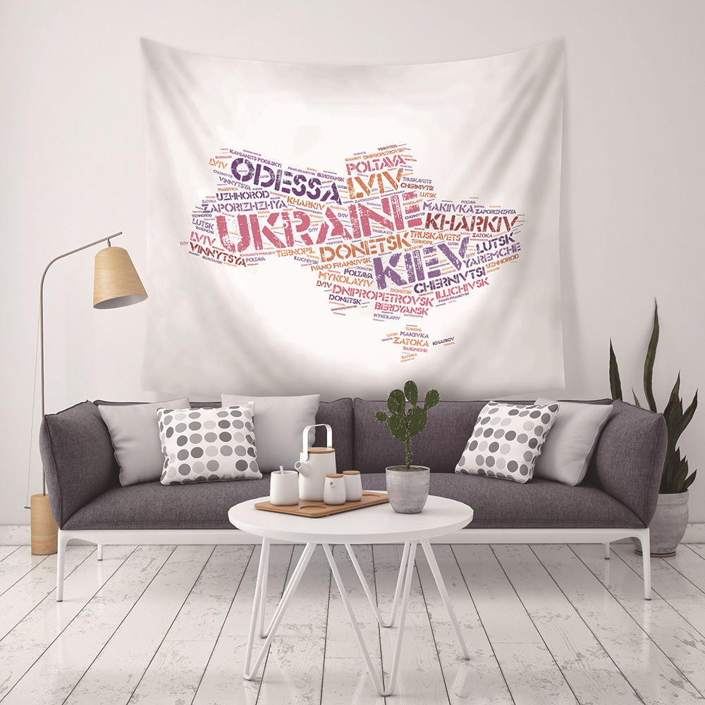 New-style Personality Foreign-letter Map Ukraine Map Tapestry