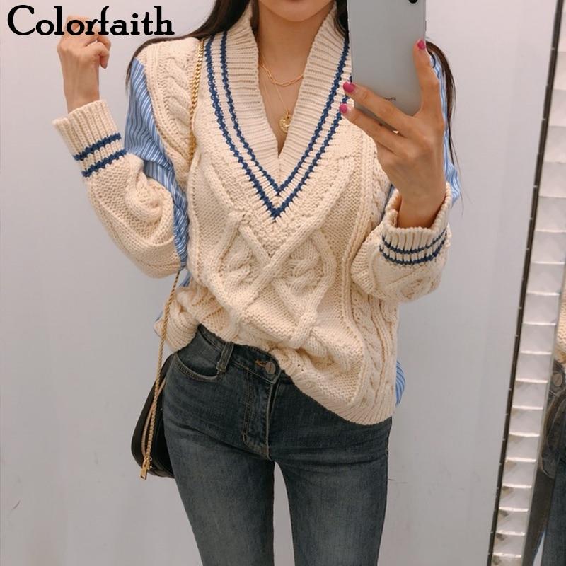Colorfaith New 2019 Autumn Winter Women's Sweaters V-Neck Casual Minimalist Tops Fashionable Korean Style Knitting Ladies SW1703