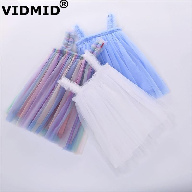 VIDMID Baby Girls vest Dresses Cotton summer Girls sweet lace Dress Kids girls Clothes children's girls sleeveless clothing 7065 1