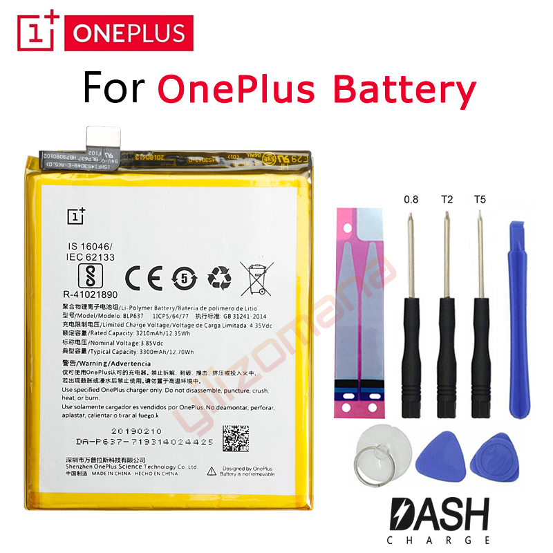 Um mais bateria de substituição original para oneplus 5 t 3 3 t 2 1 + blp571 blp597 blp613 blp633 blp637 pacote varejo ferramentas gratuitas