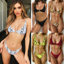 2021 new cross-border hot bikini swimsuit, new European and American leopard snake print swimsuit, female bikini