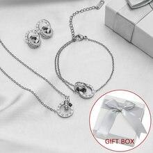 Luxury Elegant Roman Numeral Crystal Necklace Earrings Set For Women Fashion Stainless Steel Earrings 2021 Trend Wedding Jewelry