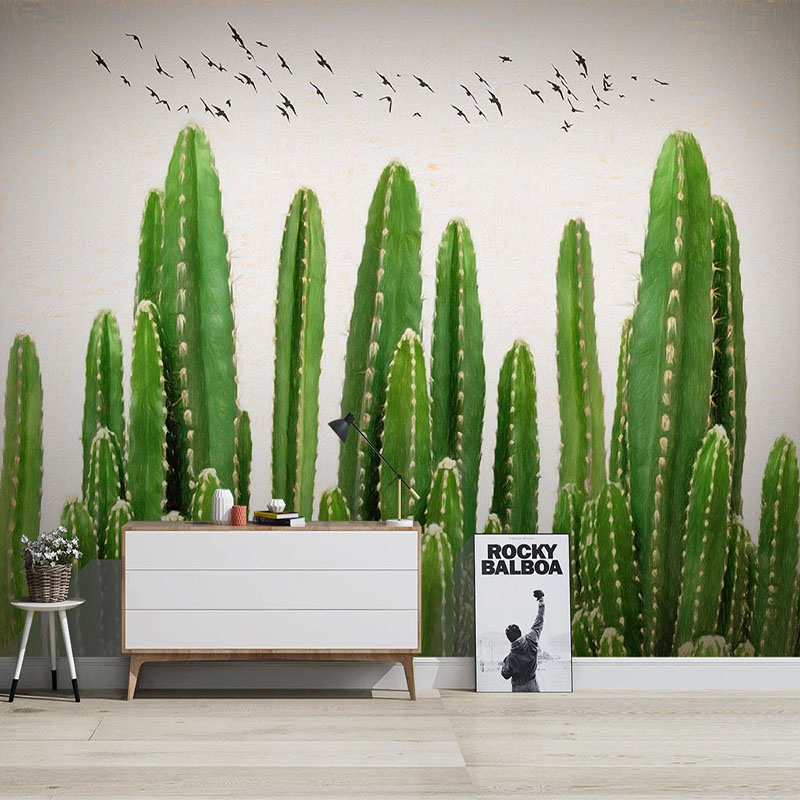 Modern Simple Wallpaper 3D Tropical Plants Hand Painted Green Cactus Photo Wall Murals Living Room TV Bedroom Decor 3D Stickers