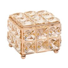 European Crystal Earring Ring Storage Box with Lid Lipstick Jewelry Display Case